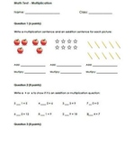 Grade 3 Multiplication Test - related facts, number lines,