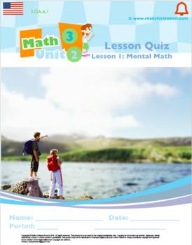 Grade 3: Math: Multiplication and Division: L1: Mental Math Quiz 3.OA.A.1