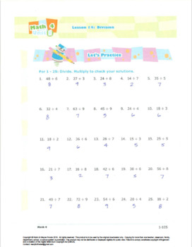 Grade 3: Math:Multiplication & Division:L4:Division Worksheet 3.OA.A.2  3.OA.C.7