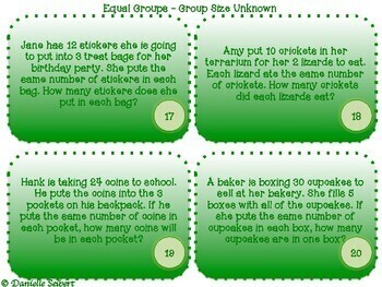 Grade 3 - Mult. and Div. Word Problems-Task Cards-CGI (CCSS 3.OA.A3)(TEKS 4k,5b)