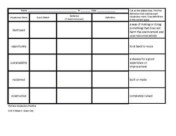 Grade 3 MyView Vocabulary Practice Unit 4 Week 4
