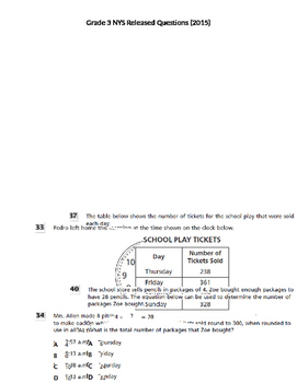 Grade 3 NYS Math Released Questions