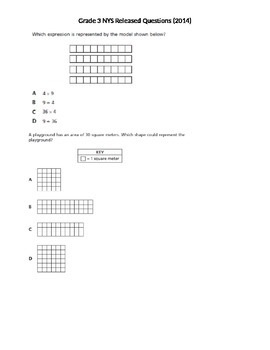 Grade 3 NYS Released Math Questions 2014