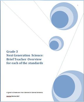 Grade 3 Next Generation Science:  Brief Teacher Overview of Content