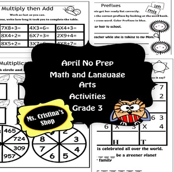 Grade 3 No Prep Math and Language Arts Activities