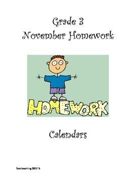 Grade 3 November Homework Calendar
