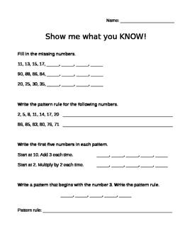 Grade 3 Number Pattern Quiz
