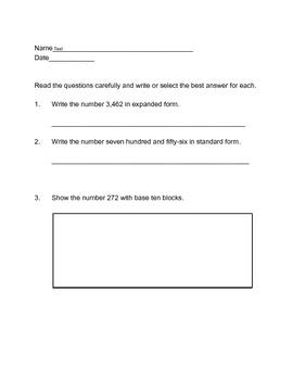 Grade 3 Number Sense Test