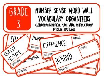 Grade 3 Number Sense Word Wall Vocabulary Organizers