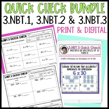 Grade 3 {Numbers and Operations in Base Ten} Quick Checks