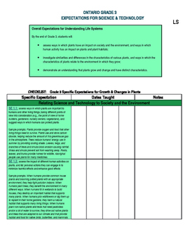 Grade 3 ONTARIO Science Expectations Checklist