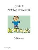 Grade 3 October Homework Calendar