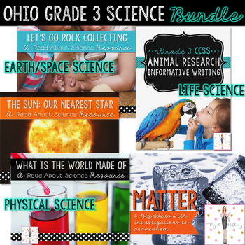Grade 3 Ohio Science BUNDLE: Matter, Rocks, Energy, Animal Life Cycles & More!
