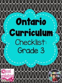 Grade 3 Ontario Curriculum Checklist