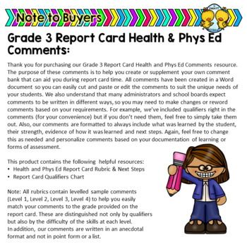 Grade 3 Ontario Health And Physical Education Report Card Comments