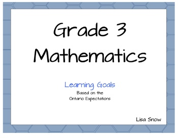 Grade 3 Ontario Learning Goal Posters - Mathematics