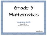 Grade 3 Ontario Learning Goal Posters - Mathematics