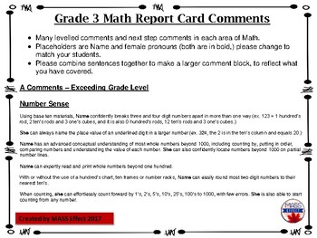 report card comments grade 3  Grade 6 Math Parent Friendly Report Card Comments - All Terms