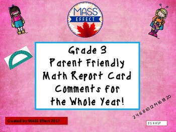 Grade 3 Ontario Math Report Card Comments - All Terms