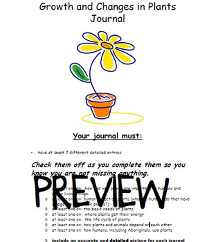Grade 3 Ontario Science: Growth and Changes in Plants Student Journal