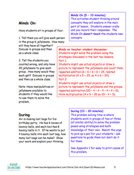 Grade 3 Operations Three Part Lesson Practice Multiplying and Dividing