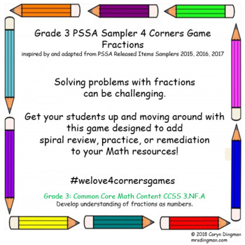 Grade 3 PSSA Sampler Fractions 4 Corners Game