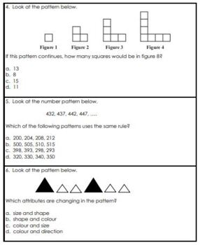 Grade 3 Patterning Unit Test