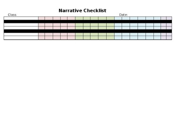 Grade 3 - Personal Narrative Data Checklist