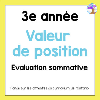 Grade 3 Place Value Test (French)