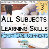 Grade 3 Ontario Report Card Comments - EDITABLE (All Subje