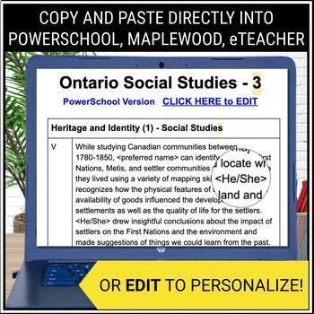 Report Card Comments - SOCIAL STUDIES - Ontario Grade 3