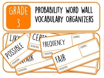 Grade 3 Probability Word Wall Vocabulary Organizers