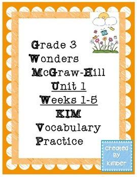 Grade 3 Reading Wonders Unit One KIM Vocabulary Practice