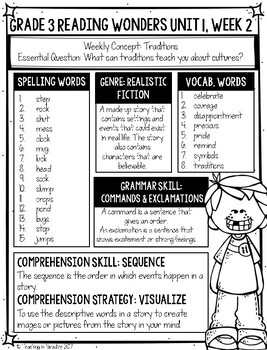 Grade 3 Reading Wonders Weekly Skills at a Glance