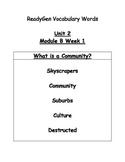 Grade 3 Ready Gen Unit 2 Mod. B Vocab words & quizzes What is a Community?