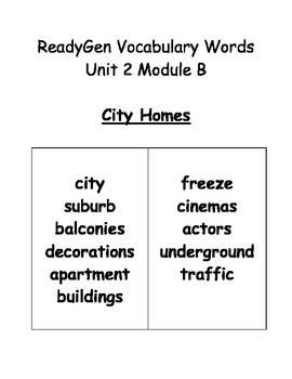Grade 3 Ready Gen Vocabulary & Quizzes City Homes