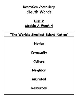 Grade 3 ReadyGen Unit 2 Sleuth Text Vocabulary and Quizzes
