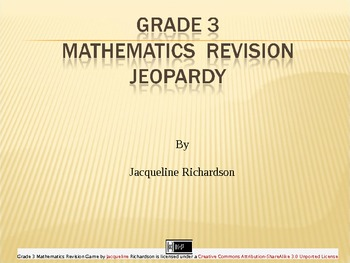 Grade 3 Revision Mathematics Jeopardy Game