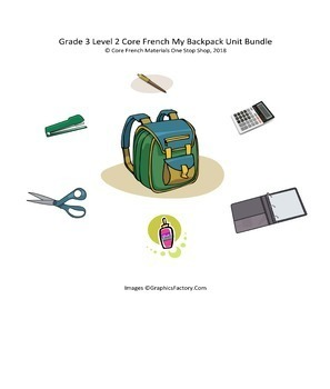 Grade 3 (SK Level 2) Core French My Backpack Unit Bundle