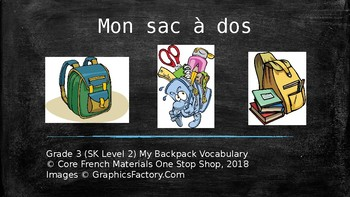 Grade 3 (SK Level 2) Core French My Backpack Unit Vocabulary PowerPoint