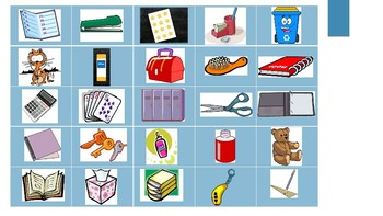 Grade 3 (SK Level 2) Core French My Backpack Vocabulary Lotto (Bingo Game)
