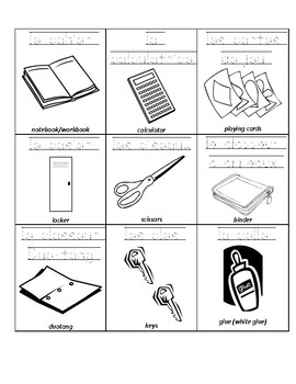 Grade 3 (SK Level 2) My Backpack Vocabulary Student Handout
