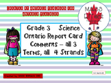 Grade 3 Science Report Card Comments, ALL 3 TERMS!