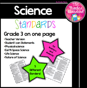 Grade 3 Science Standards One Page