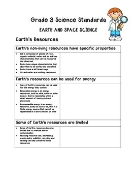 Grade 3 Science Standards Table