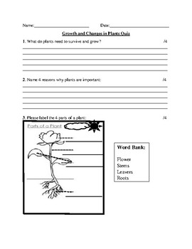 Grade 3 Science Tests: 1. Forces, 2. Structures, 3. Plants and 4. Soils