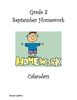 Grade 3 September Homework Calendar