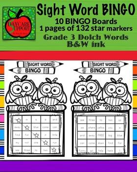 Grade 3 Sight Word BINGO B&W ink (Daycare Support by Priscilla Beth)