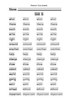 Grade 3 Sitton Unit 5 Spelling List for Handwriting Practice