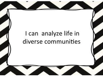 Grade 3 Social Studies I Can Statements and Teacher Checklist Chevron